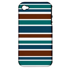 Teal Brown Stripes Apple iPhone 4/4S Hardshell Case (PC+Silicone)