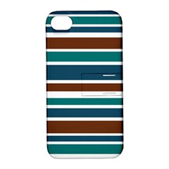 Teal Brown Stripes Apple Iphone 4/4s Hardshell Case With Stand