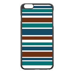 Teal Brown Stripes Apple iPhone 6 Plus/6S Plus Black Enamel Case