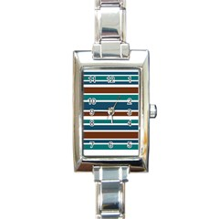 Teal Brown Stripes Rectangle Italian Charm Watch
