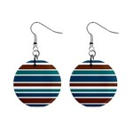 Teal Brown Stripes Mini Button Earrings Front