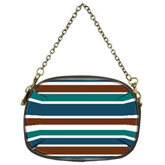 Teal Brown Stripes Chain Purses (One Side)