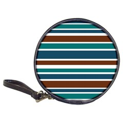 Teal Brown Stripes Classic 20-CD Wallets