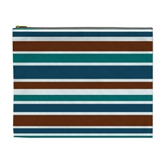 Teal Brown Stripes Cosmetic Bag (XL)