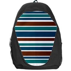 Teal Brown Stripes Backpack Bag