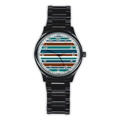 Teal Brown Stripes Stainless Steel Round Watch