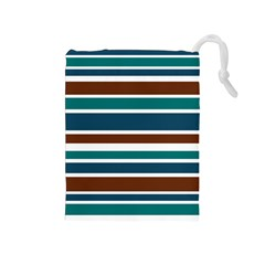 Teal Brown Stripes Drawstring Pouches (Medium)