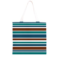 Teal Brown Stripes Grocery Light Tote Bag