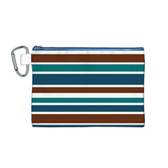 Teal Brown Stripes Canvas Cosmetic Bag (M)