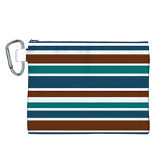 Teal Brown Stripes Canvas Cosmetic Bag (L)