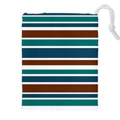 Teal Brown Stripes Drawstring Pouches (xxl)
