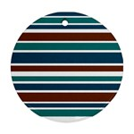 Teal Brown Stripes Ornament (Round)  Front