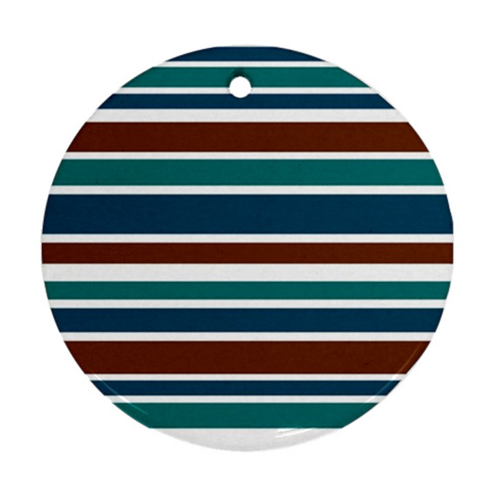 Teal Brown Stripes Ornament (Round)