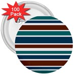 Teal Brown Stripes 3  Buttons (100 pack)  Front