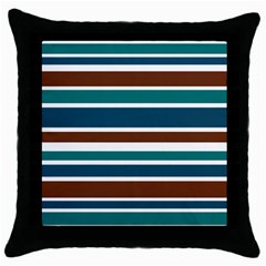 Teal Brown Stripes Throw Pillow Case (Black)
