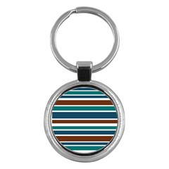 Teal Brown Stripes Key Chains (Round)