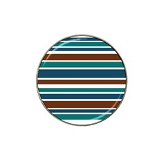 Teal Brown Stripes Hat Clip Ball Marker