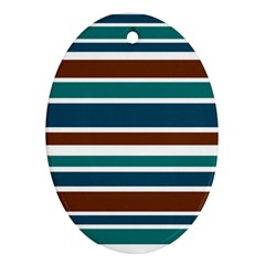 Teal Brown Stripes Oval Ornament (Two Sides)
