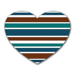 Teal Brown Stripes Heart Mousepads
