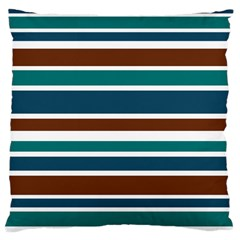 Teal Brown Stripes Large Cushion Case (One Side)