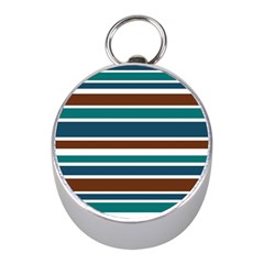 Teal Brown Stripes Mini Silver Compasses