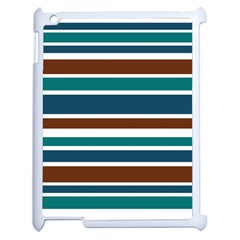 Teal Brown Stripes Apple iPad 2 Case (White)