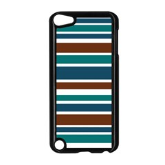 Teal Brown Stripes Apple iPod Touch 5 Case (Black)