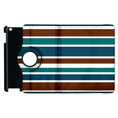 Teal Brown Stripes Apple iPad 3/4 Flip 360 Case