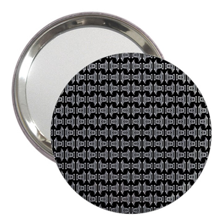 Black White Tiki Pattern 3  Handbag Mirrors