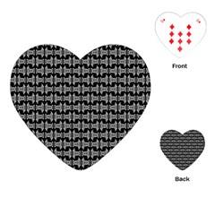 Black White Tiki Pattern Playing Cards (Heart)