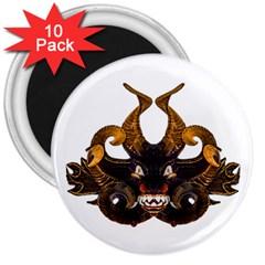Demon Tribal Mask 3  Magnets (10 pack)