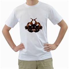 Demon Tribal Mask Men s T-Shirt (White) (Two Sided)