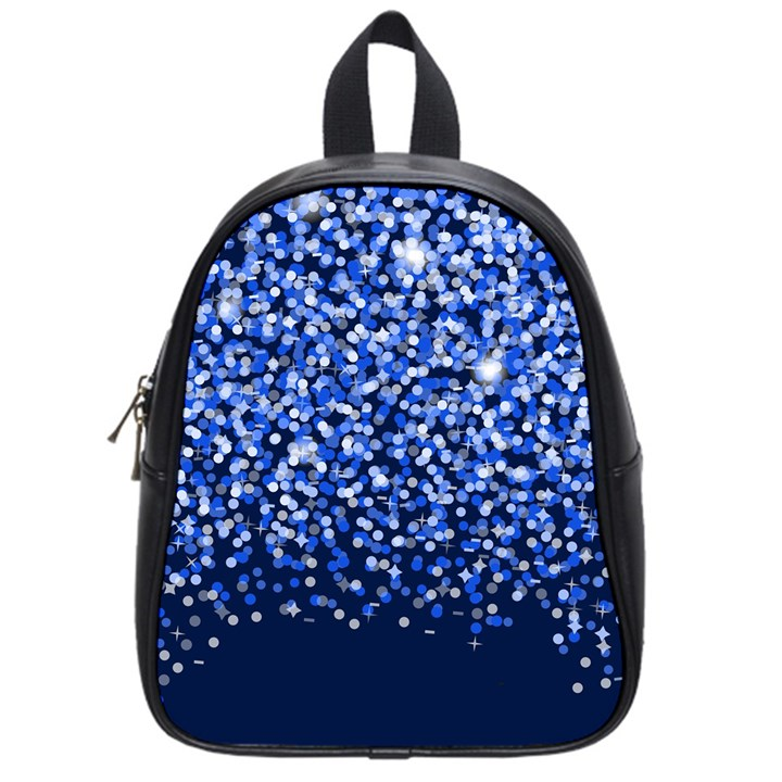 Blue Glitter Rain School Bags (Small)