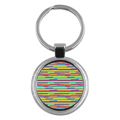 Colorful Stripes Background Key Chains (Round)