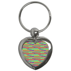 Colorful Stripes Background Key Chains (Heart)