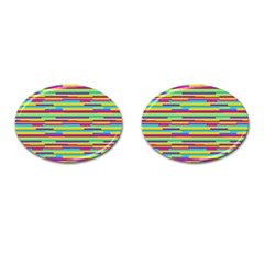 Colorful Stripes Background Cufflinks (Oval)