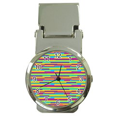 Colorful Stripes Background Money Clip Watches