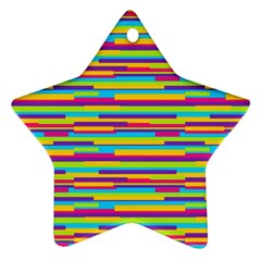 Colorful Stripes Background Star Ornament (Two Sides)