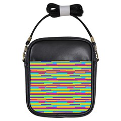 Colorful Stripes Background Girls Sling Bags