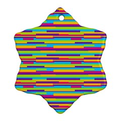 Colorful Stripes Background Snowflake Ornament (2-Side)