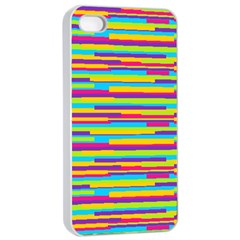 Colorful Stripes Background Apple iPhone 4/4s Seamless Case (White)