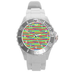 Colorful Stripes Background Round Plastic Sport Watch (L)
