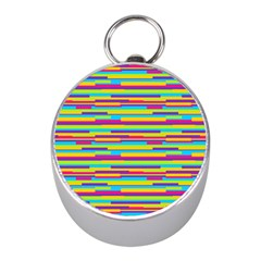 Colorful Stripes Background Mini Silver Compasses