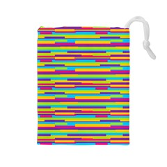 Colorful Stripes Background Drawstring Pouches (Large)