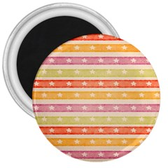 Watercolor Stripes Background With Stars 3  Magnets