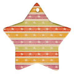 Watercolor Stripes Background With Stars Ornament (Star)