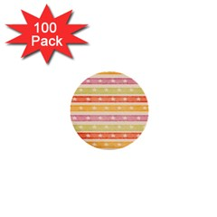 Watercolor Stripes Background With Stars 1  Mini Buttons (100 pack)