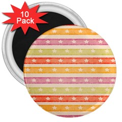 Watercolor Stripes Background With Stars 3  Magnets (10 pack)