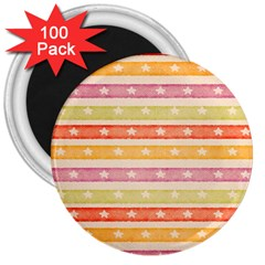 Watercolor Stripes Background With Stars 3  Magnets (100 pack)