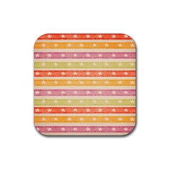 Watercolor Stripes Background With Stars Rubber Coaster (Square)